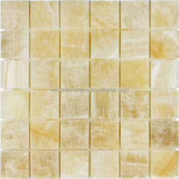Grade A Yellow Onyx Marble Mosaic Tile