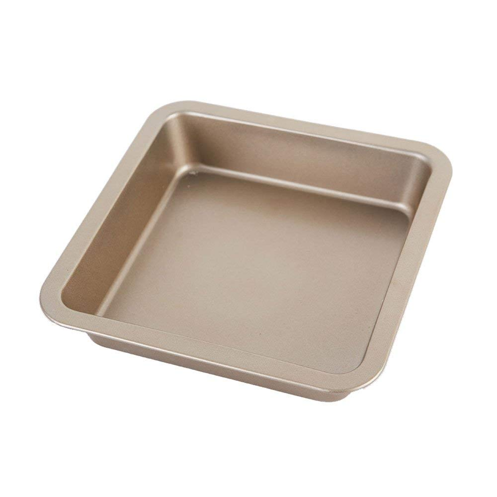 Kitchen Craft Cake Tin Square Baking Pan Pizza Baking Pan Cake Baking Mold Black/Gold (Color : Gold)