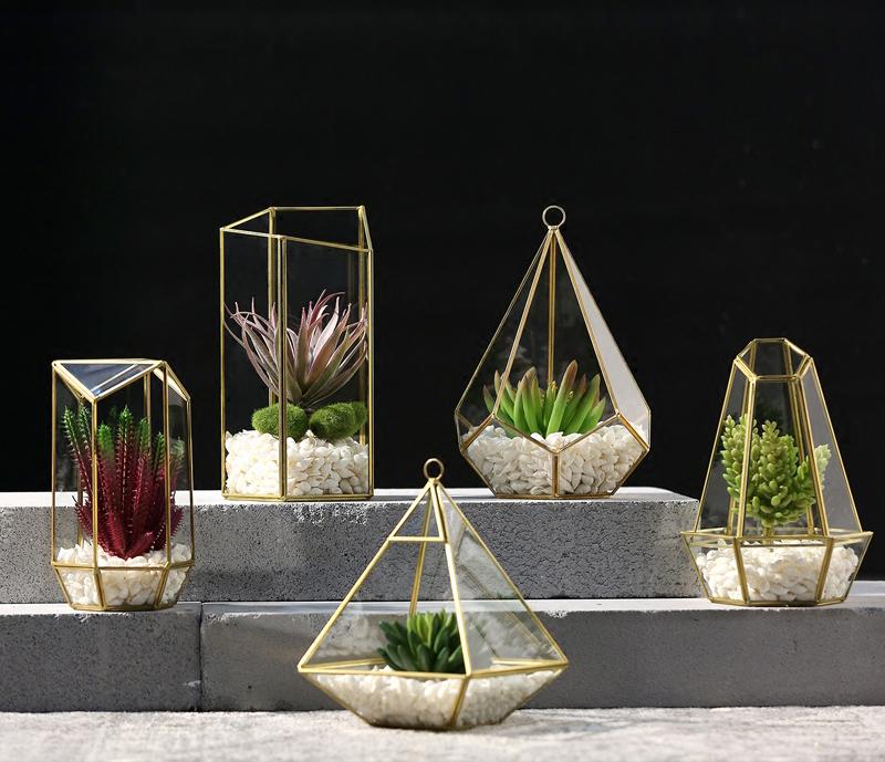 Irregular Glass Gold Geometric Terrarium For Tabletop Succulent Plant Planter