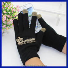 Top quality gold offset printing three fingers smart touch screen gloves wholesale acrylic magic gloves black