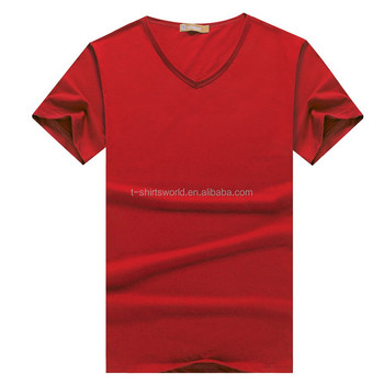 Adult Blank V-Neck Short Sleeves T-Shirt Wholesale with Many Colors Choice