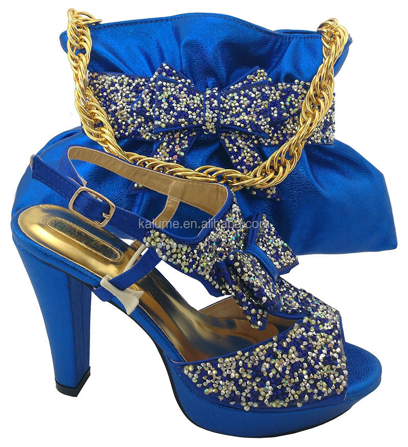 Party Color MM1042 Sandals And Shoes Women Italian Blue Fashion Design To 2018 Match Bags Shoe Bag And Royal Latest Uq4EwET
