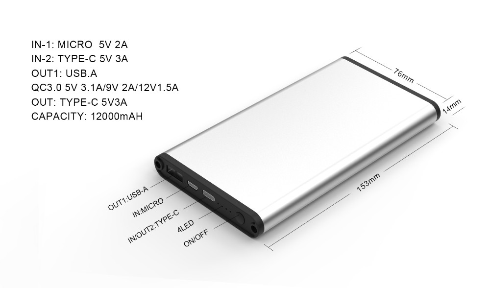 Super Capacitor Slim Flat Qc3 0 Power Bank 12000mah For Iphone Samsung -  Buy Slim Power Bank,12000mah Power Bank,Qc3 0 Power Bank Product on