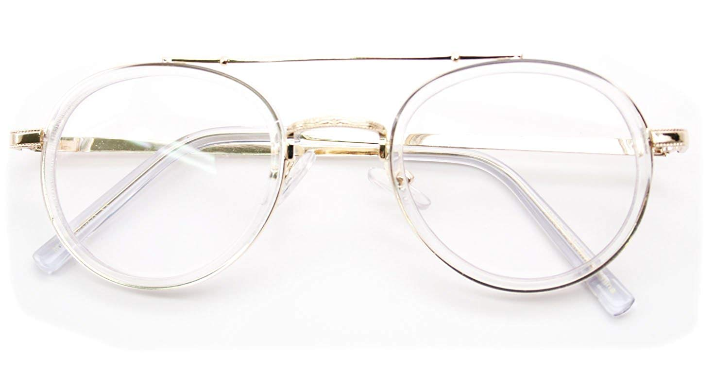 78ddc84456 V.W.E. Vintage Inspired Metal Bridge and Temple - Clip-On Look Clear Lens  Glasses