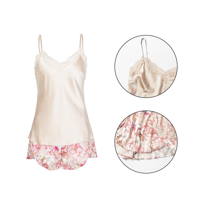 Wholesale Sexy Floral Sleep Bottoms and Tops Satin Women Sleep Wear 100% Silk Pajamas Set