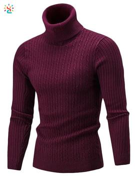 Al por mayor los hombres suéter de cuello alto blanco suéteres de manga  larga de punto 3a2df1cea8f59