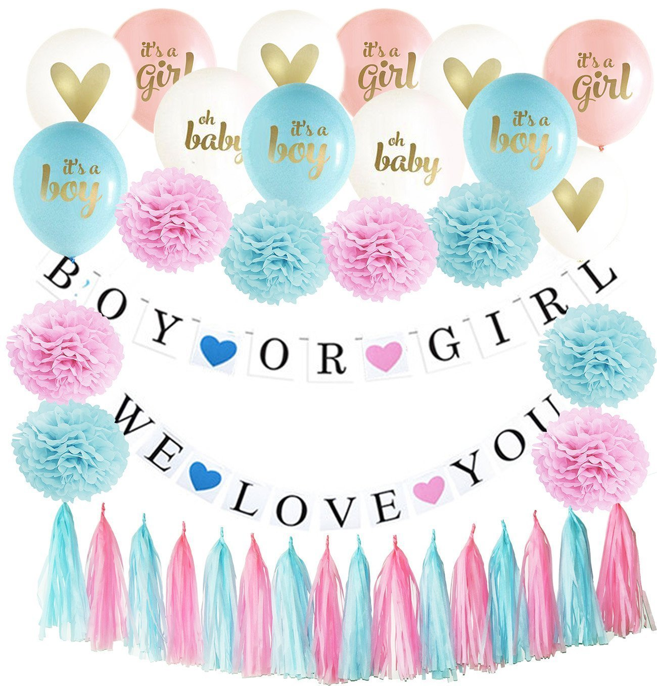 Gender Reveal Party Supplies, Baby Shower Decorations, Tissue Paper Pom Pom/Boy Or Girl Banner/Gender Reveal Ballons Pink Blue Tassel Garland Birthday Party (Pink Blue Set A)