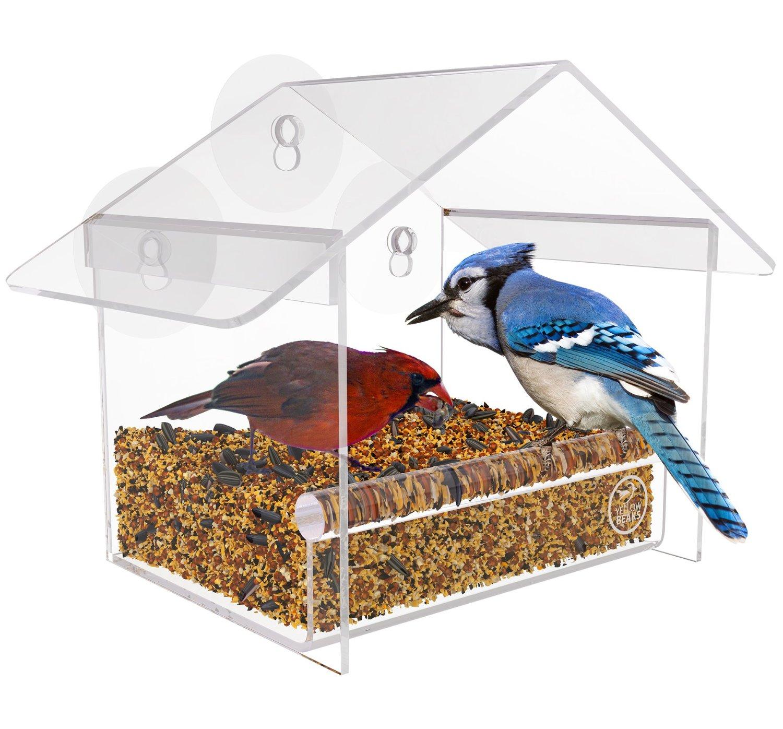 hot selling house shape novelty window automatic bird feeder