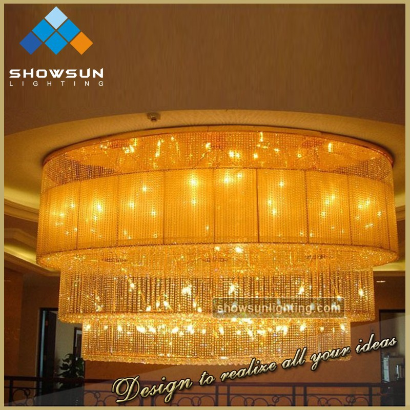 stair central decoration fabric covering oval crystal pendant lighting