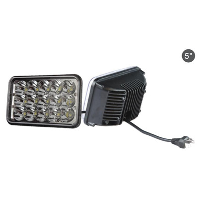 5 Inch Square LED Headlight for Trucks 45W 6000K 3W High Power LED 15Leds 2900LM 12V IP65 High Low Beam