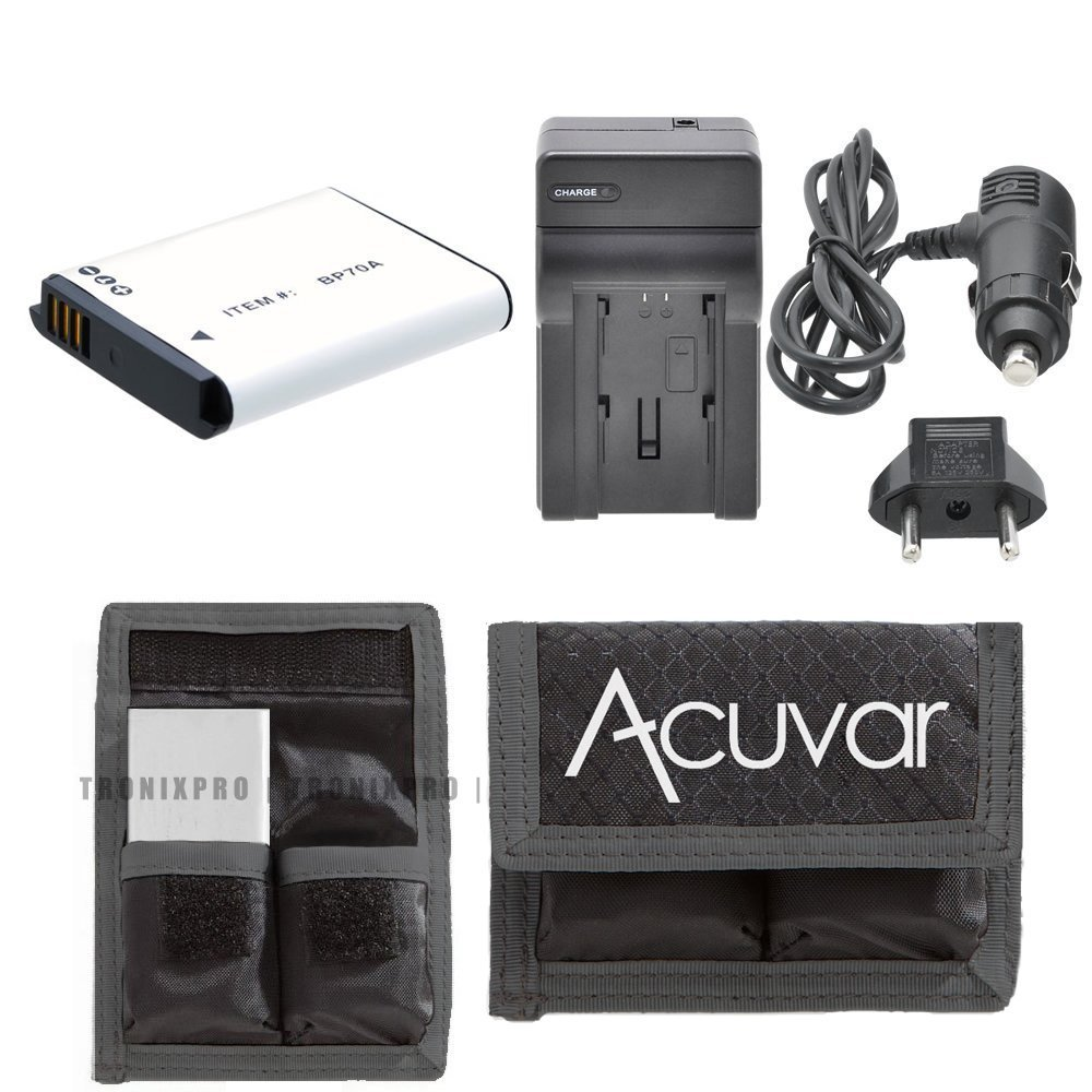 BP-70A Replacement Battery + Car / Home Charger + Acuvar Battery Pouch For Samsung ST Series ST30, ST60, ST61, ST65, ST66, ST67, ST70, ST71, ST72, ST73, ST76, ST77, ST80, ST88, ST89, ST90, ST93, ST95, ST96, ST100, ST150F, ST151F, ST152F, ST700, ST6500 & More