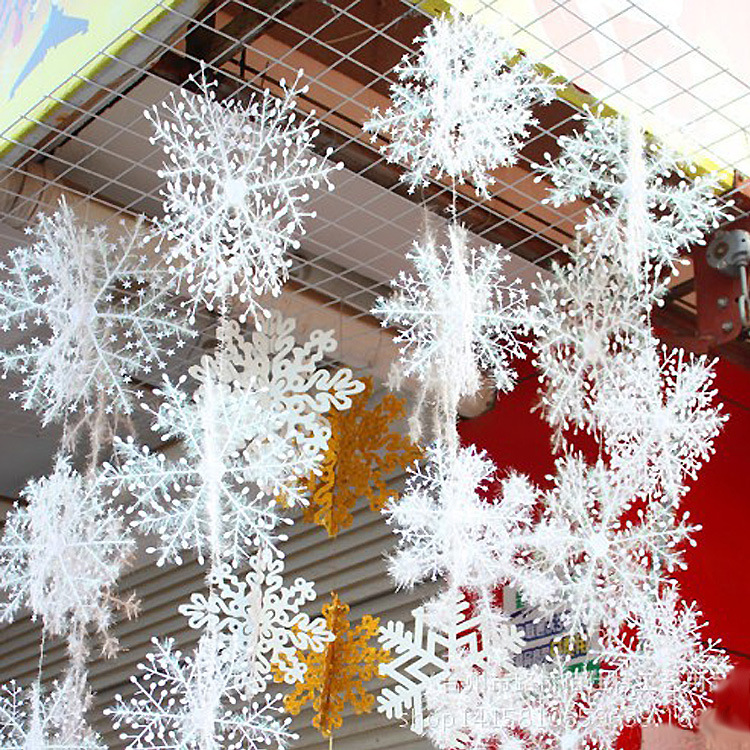 35*90cm White Snowflake Christmas Ornaments Holiday Festival Party Home Decor Decoracion Navidad New Year Gift