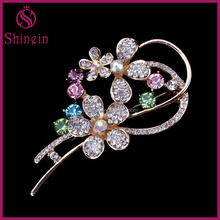 Custom Gold plated colorful Crystal Brooch For women decoration