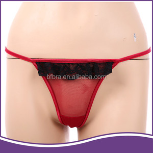 Wholesale red transparent printed ladies' fancy panty women sexy thong