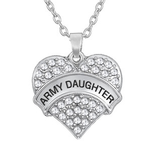 Personalized Fashion Big Litter Army Sister/Brat/Daughter/Girl/MOM Crystal Heart Pendant Necklaces Mother Daughter Jewelry