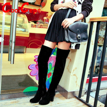 CooLcept Free shipping over knee long high heel boots women snow fashion winter warm boot footwear shoes P10604 EUR size 34-43