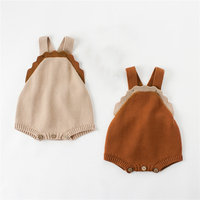 Knitted Baby Clothes Autumn Baby Cute Ruffles Rompers Newborn Infant Baby Overalls Woolen Newborn Girls Boys Jumpsuit Clothes