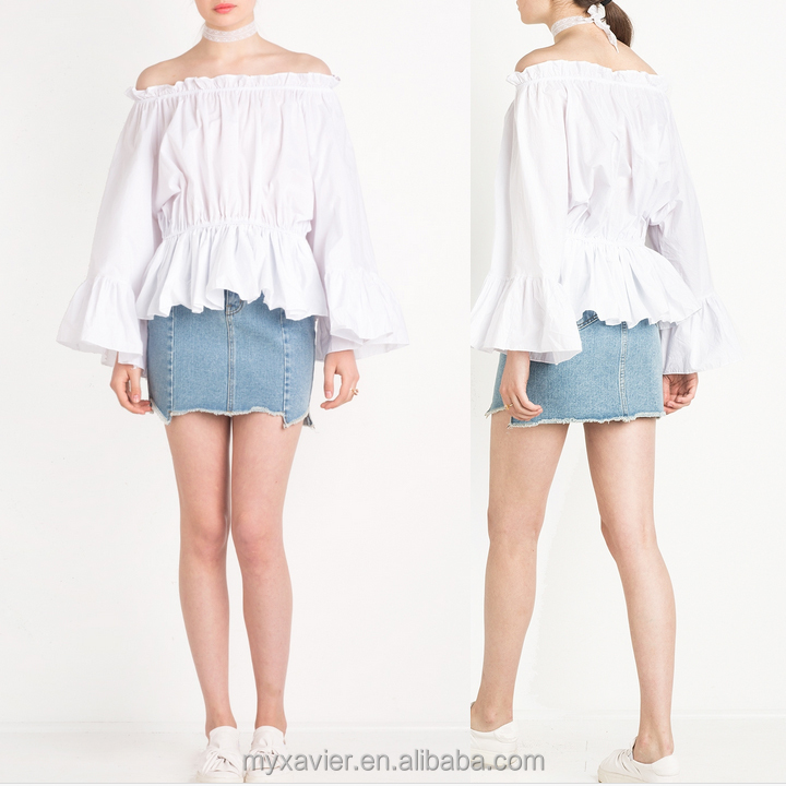 Women loose fit White off the shoulder top with long bell sleeves and elastic waist blouse