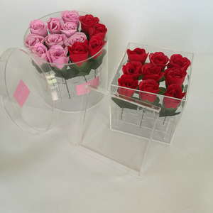 Trending hot products new design customized color acrylic square rose flower box