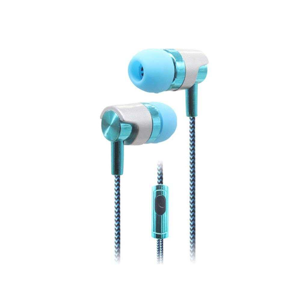 Jytrading Bass In-ear Headphones, Stylish Braided Line Heavy Bass Stereo Music In-ear Headset Earphone with Mic