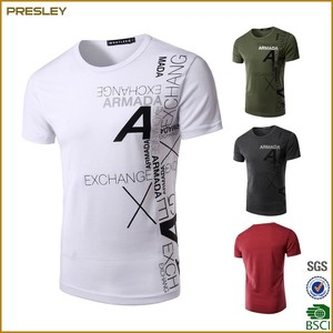 2017 Hot sell Men's Presrhinked 180gsm Single Jersey Cotton 100% T-Shirts With Silkscree Printing For Promotion