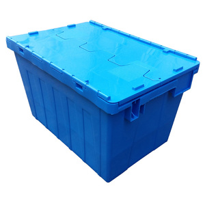 heavy duty attached lid plastic container crate with lid