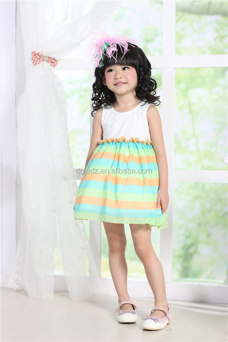 Chiffon Baby Girls Puffy Dresses Stripes Kids Fashion Show Dresses