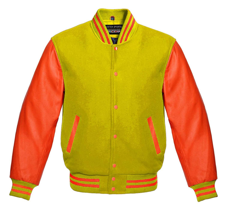 cfbe8ddd70d Get Quotations · Estek Sports Letterman Baseball Varsity Jacket Yellow Wool  & Orange Genuine Leather Sleeves
