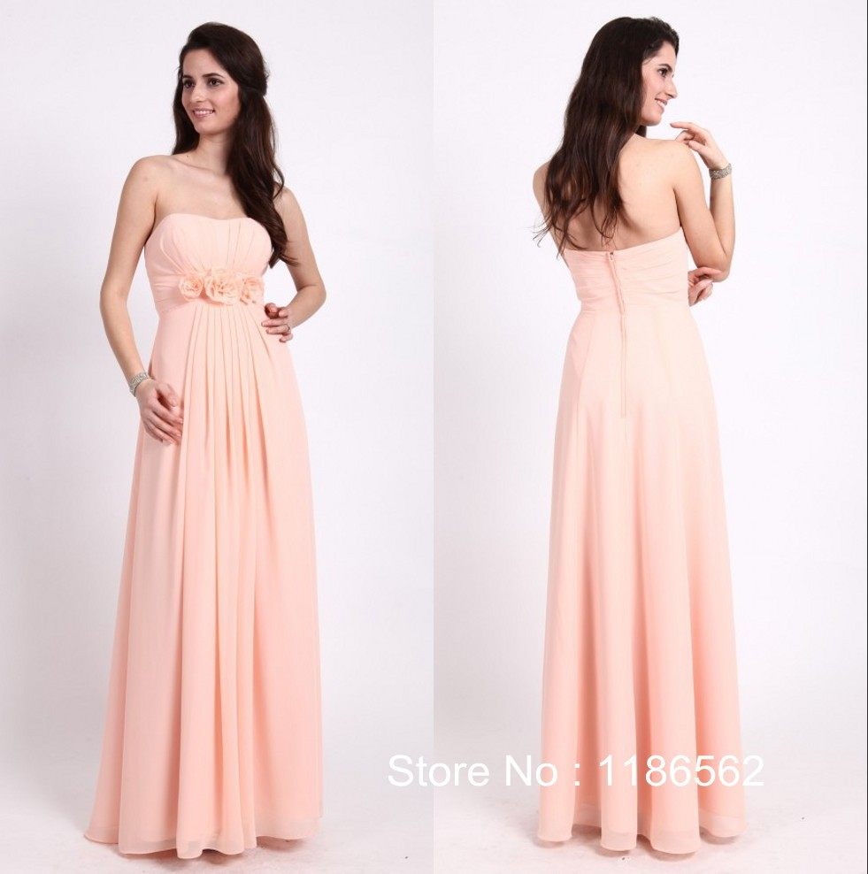 Get Quotations · 2015 Fashion Strapless A Line Adult Party Dress for Wedding  Chiffon Hand Flowers Long Peach Bridesmaid a85d21a89c8d