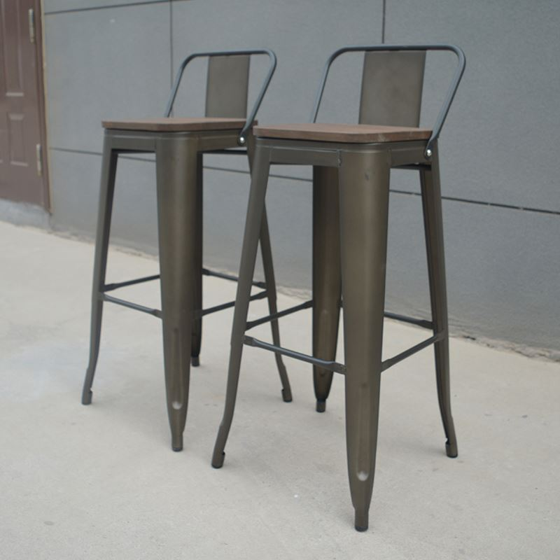 high quality white wood metal bar bronze/gunmetal antique color stool