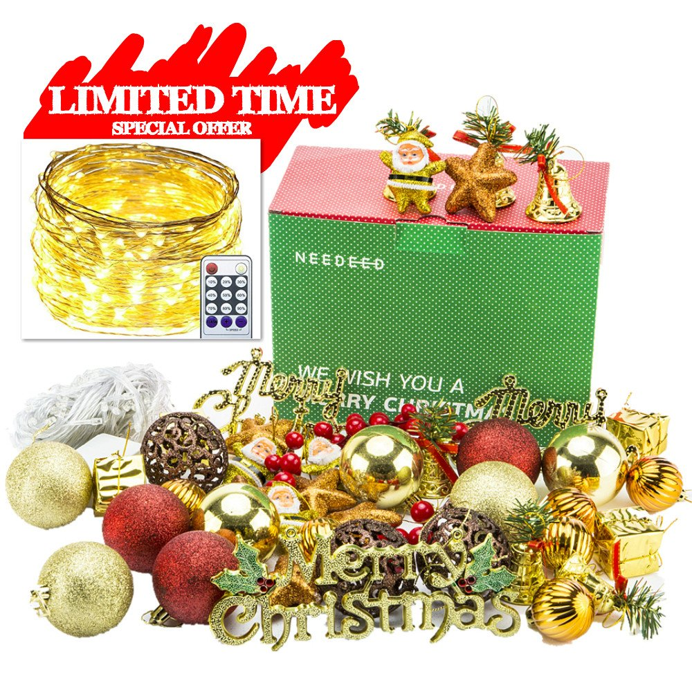 get quotations needeed christmas ball ornaments tree decorations all in one set 47 pcs - Christmas Ball Ornaments Bulk