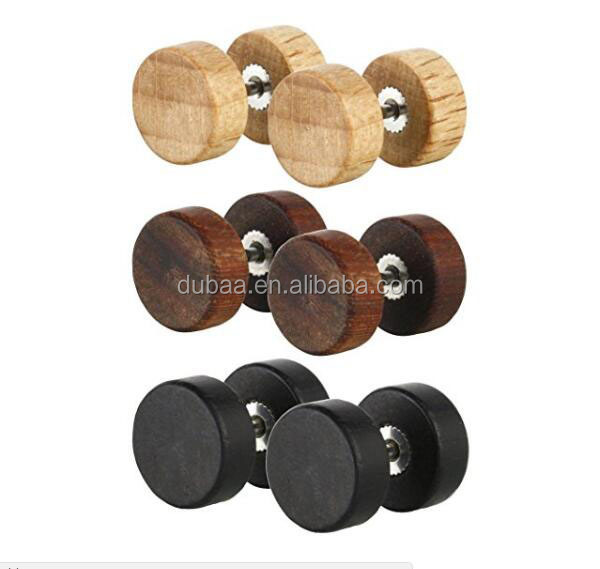 Stainless steel Men Earrings Studs Wooden Cheater Plugs Stud Earrings for Men Boys Hypoallergenic Fake Ear Plugs Expanders