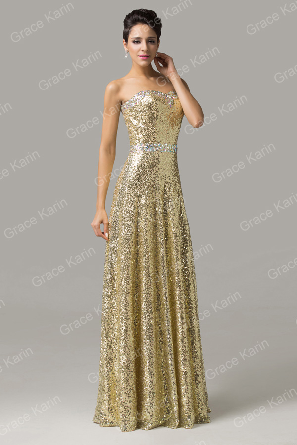 Grace Karin Sexy Strapless Sweetheart Long Sequins Golden Prom ...