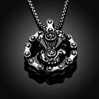 Tryme Stainless Steel Necklace Trendy Rock Plating Guns Skeleton Doll Pendant Necklaces Charm Chain Men Biker Jewelry Collares