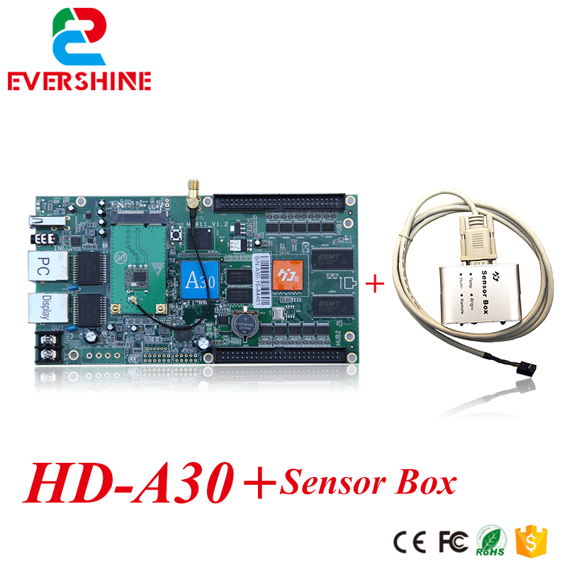 HD-A30 led control card full color display screen led rgb controler a30 with sensor box