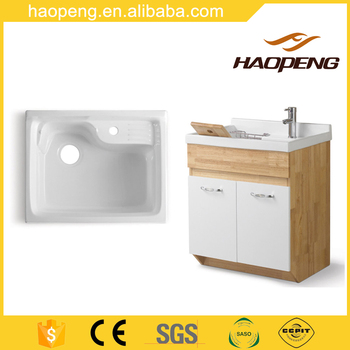 Modern White Bathroom Vanity Laundry Wash Tub With Cabinet Basin For Washing Clothes