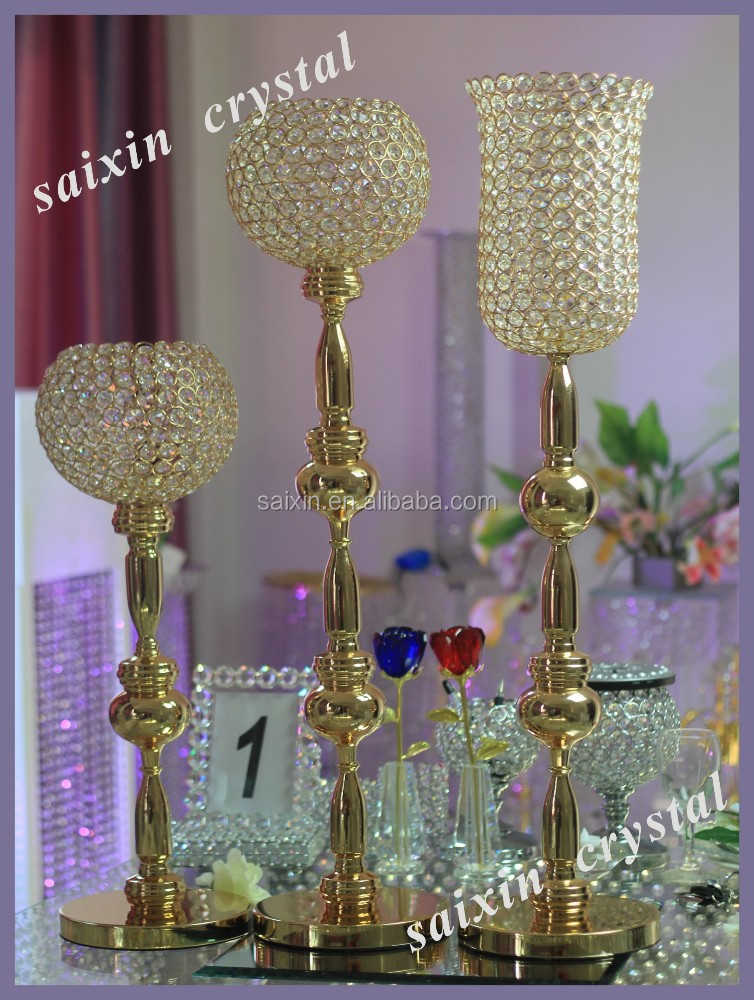 New Crystal Columns Wedding Decorations For Gold Crystal Vase Stands