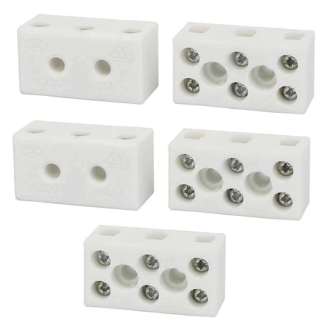 uxcell 250V 10A 3 Position 8 Hole Ceramic Terminal Blocks Wire Connectors 5pcs