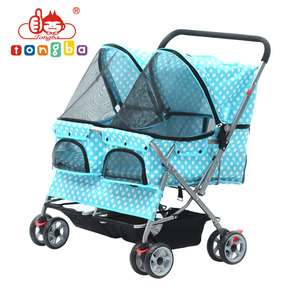 Tongba Double Twin Pet Stroller High Side Pet Trolley with High Side