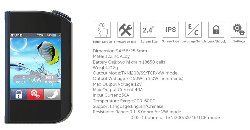 teslacigs released 150w touch screen mod teslacigs 150w tc popular rh alibaba com