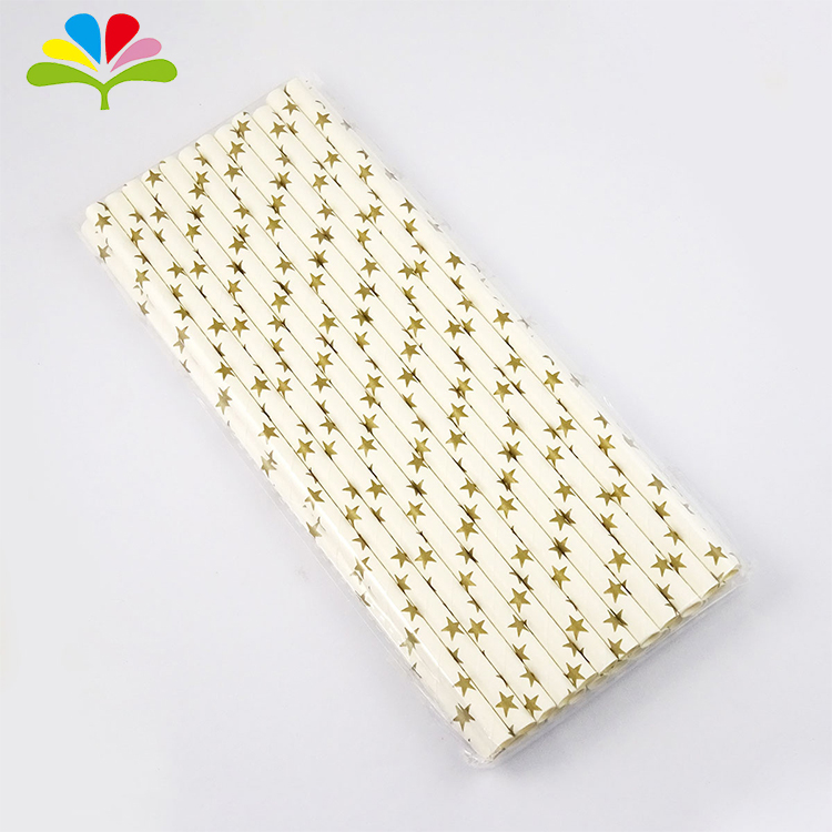 Holiday Hot Sale Custom Printed Colors Star Dot Striped Paper Straw