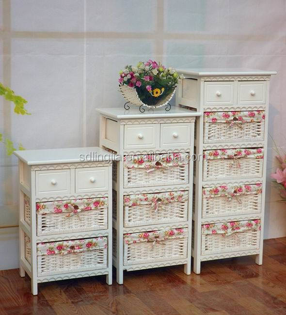 shabby chic brown cupboard cabinet wood furniture with wicker drawers