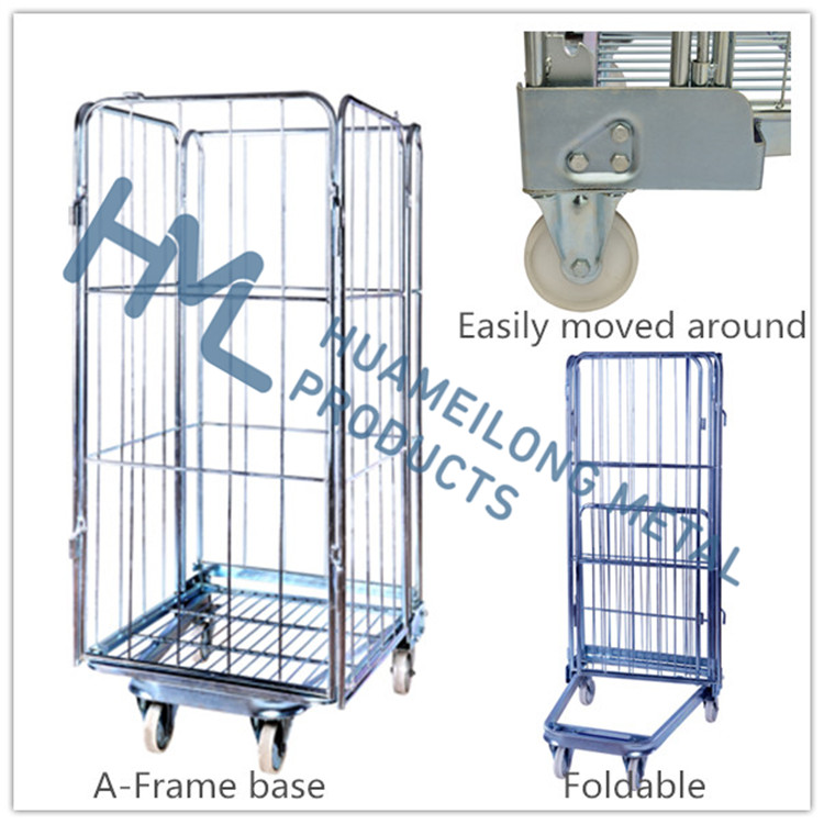 4-Side warehouse transport storage heavy duty collapsible mobile metal foldable high quality roll container with shelves