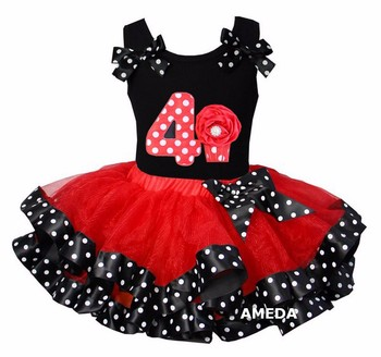Red Black Polka Dots Satin Trimmed Tutu with Number 4 Cupcake Hot Pink Tank Top