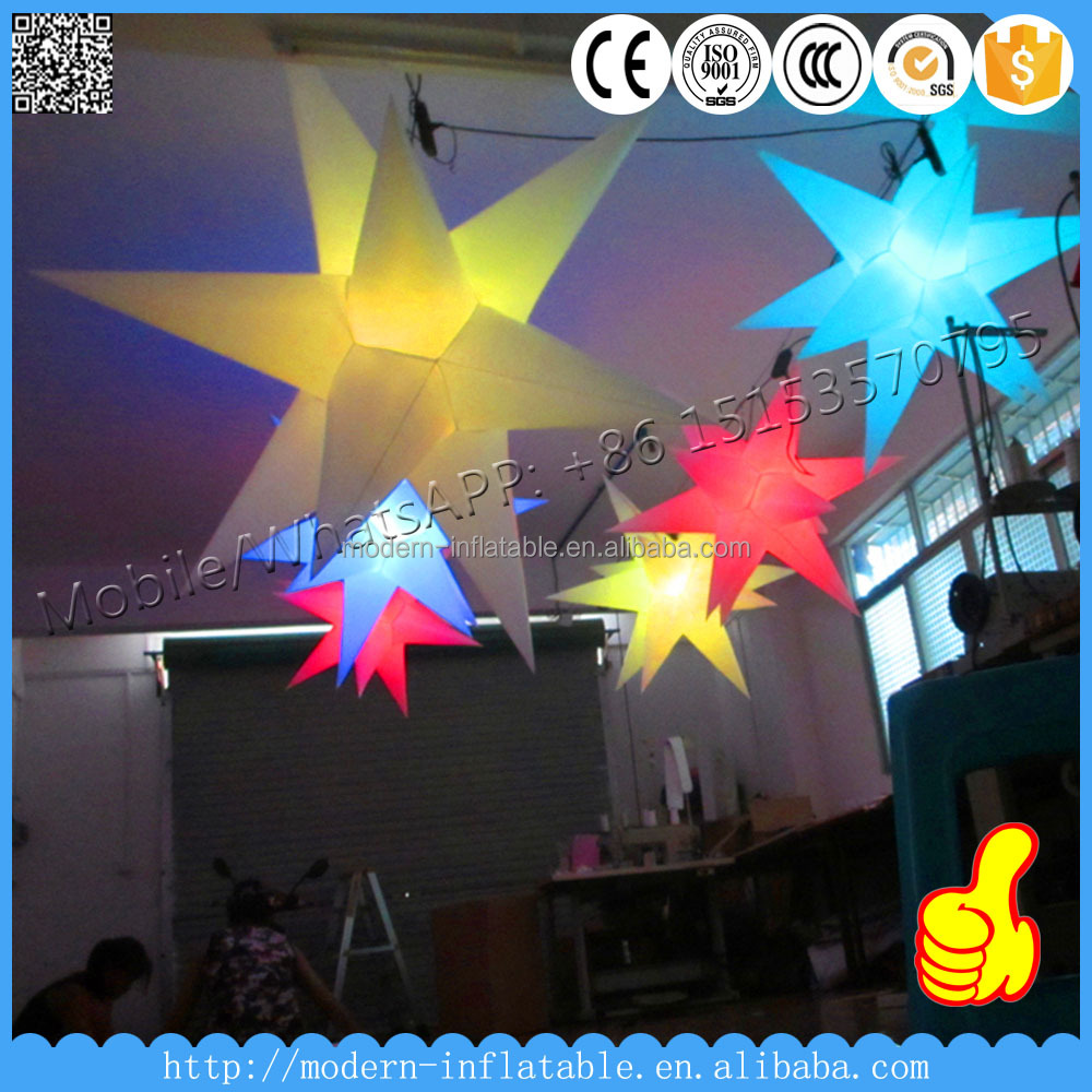 1m diameter inflatable balloon star with led light for Party/Wedding/Event/Night Club <strong>decoration</strong>