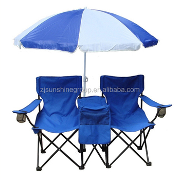 Double Folding Chair W Umbrella Table Cooler Foldable Beach Camping With Backpack