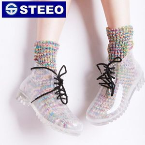 Transparent PVC ankle rain boots with colorful lace