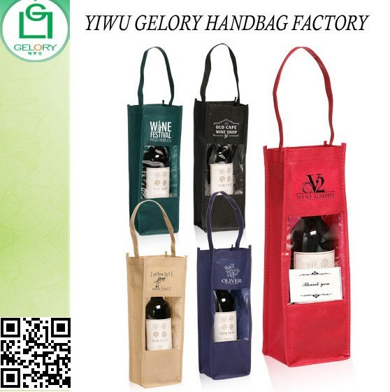 Whole Bulk Custom Non Woven Single Wine Bottle Carrier Gift Bags With Clear Window