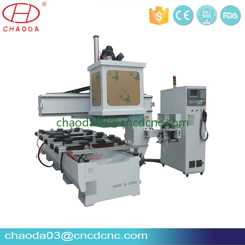 single arm cnc router machine with line boring head and auto tool changer