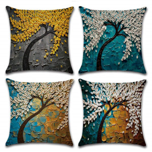 Decorative Oil Painting Tree Outdoor Pillow Cushion Cover Set Cotton Linen for Sofa Bedroom Car 18 x 18 Inch 45 x 45 cm